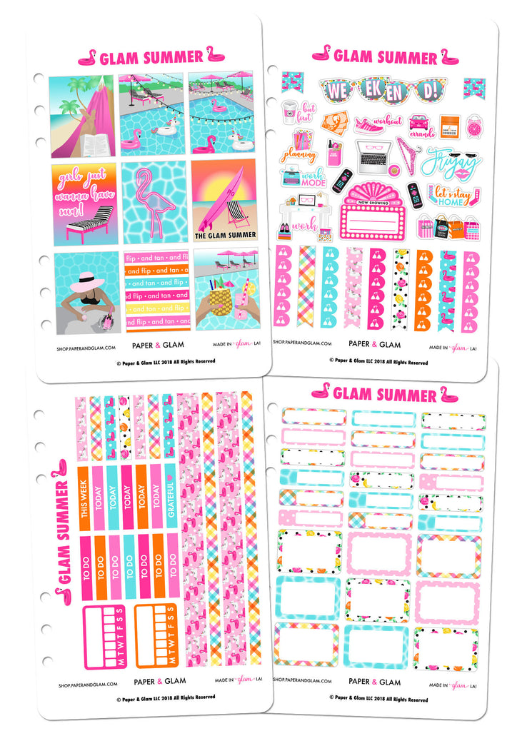 Glam Summer Weekly Kit Planner Stickers