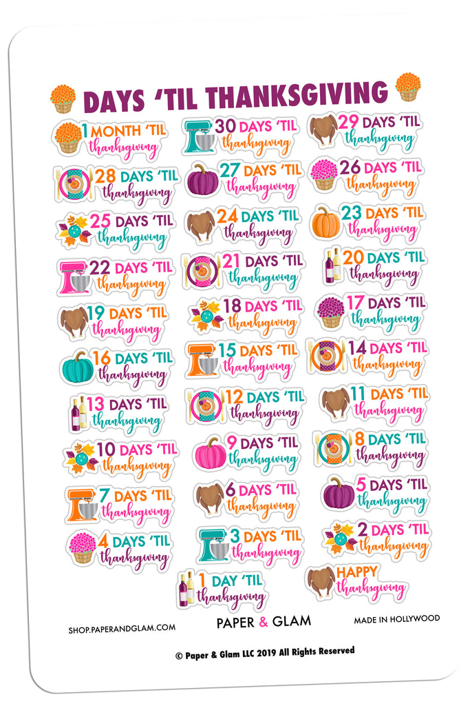 Glam Thanksgiving Countdown Digital Planner Stickers
