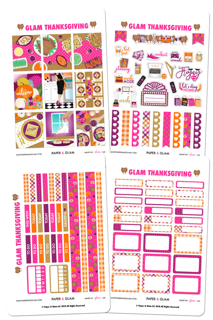 Glam Thanksgiving Weekly Kit Planner Stickers