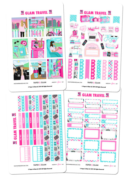 Glam Travel Weekly Kit Digital Planner Stickers