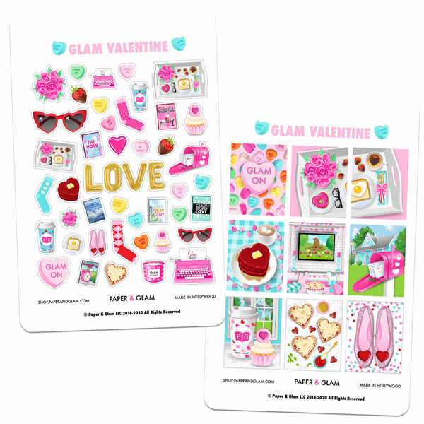 Glam Valentine Digital Planner Stickers
