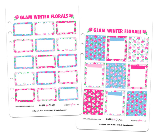 Glam Winter Floral Basics Digital Planner Stickers