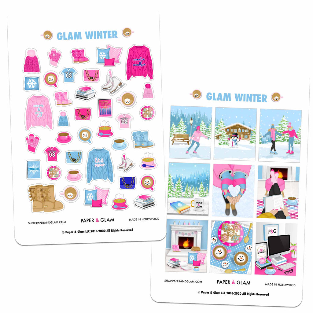 Glam Winter Digital Planner Stickers