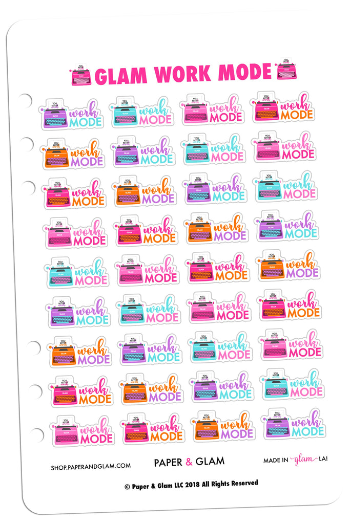 glam work mode digital planner stickers paper glam planners