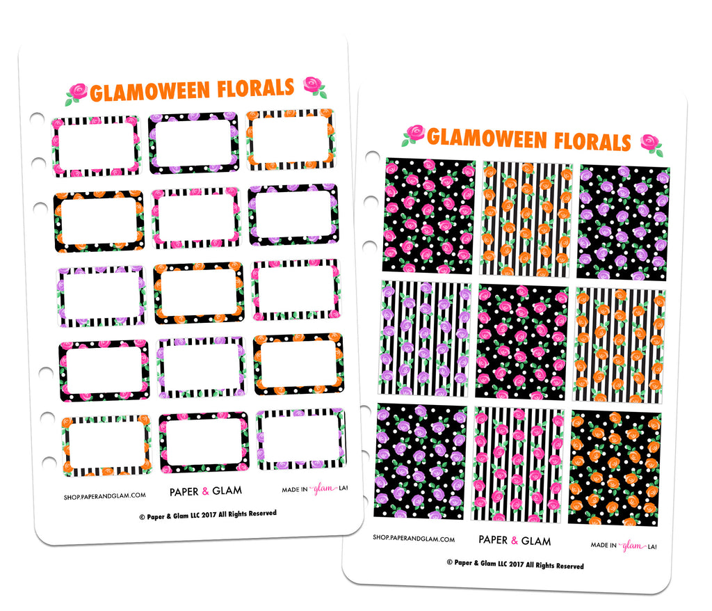 Glamoween Floral Basics Planner Stickers