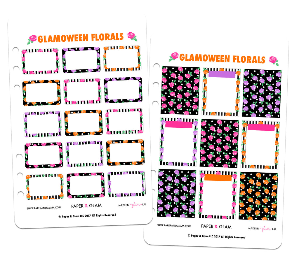 Glamoween Floral Basics Digital Planner Stickers