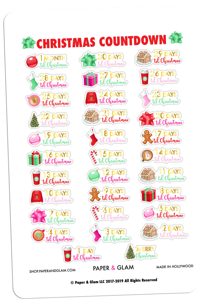 Gold Foil Christmas Countdown Planner Stickers