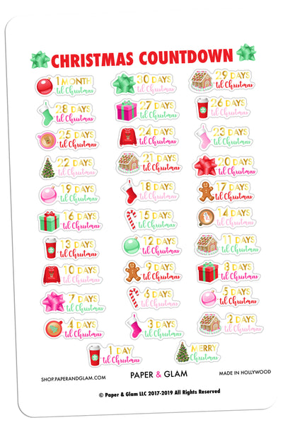 Gold Foil Glam Christmas Countdown Planner Stickers