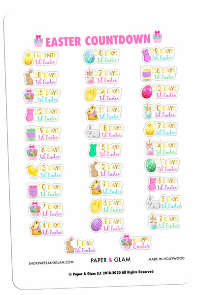 Gold Foil Easter Countdown Planner Stickers PRE-ORDER