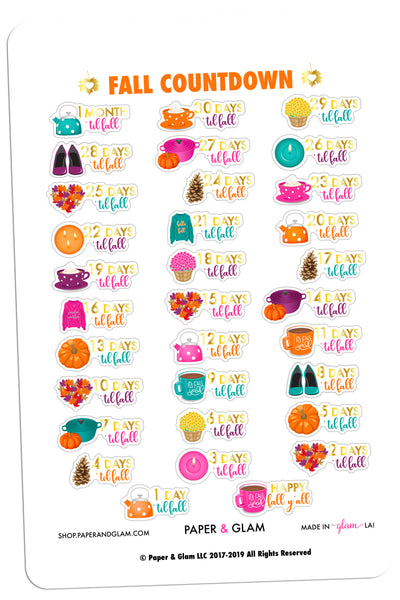 Gold Foil Glam Fall Countdown Planner Stickers