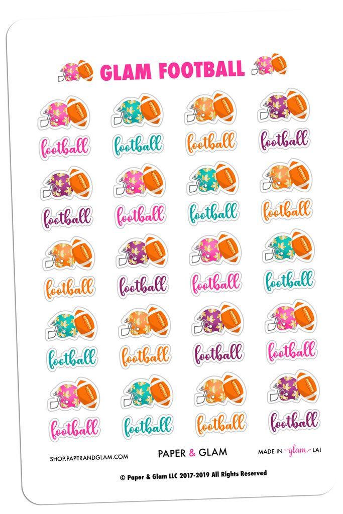 Gold Foil Glam Fall Football Planner Stickers