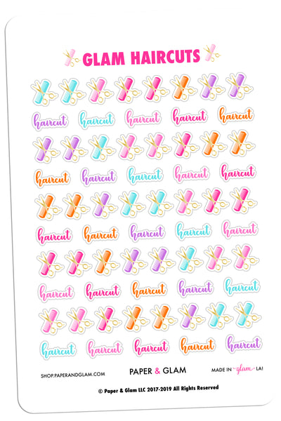 Gold Foil Glam Haircuts Planner Stickers