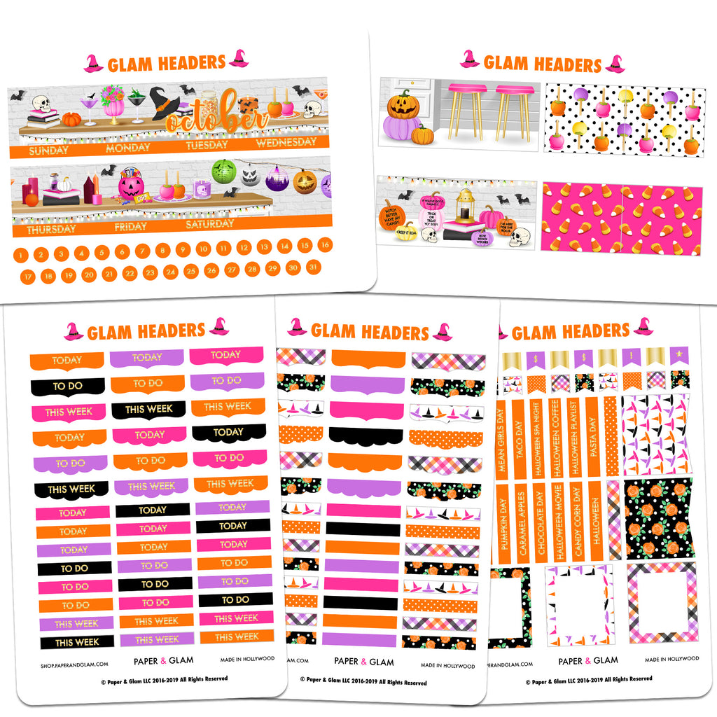 Gold Foil Glam October Headers Planner Stickers