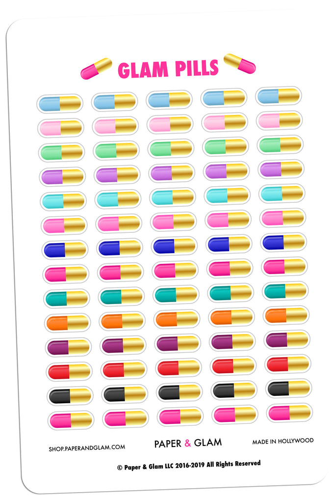 Gold Foil Glam Pills Planner Stickers