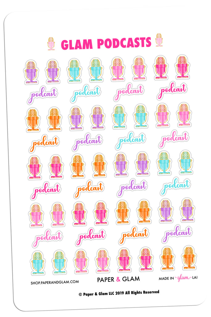 Gold Foil Glam Podcasts Planner Stickers