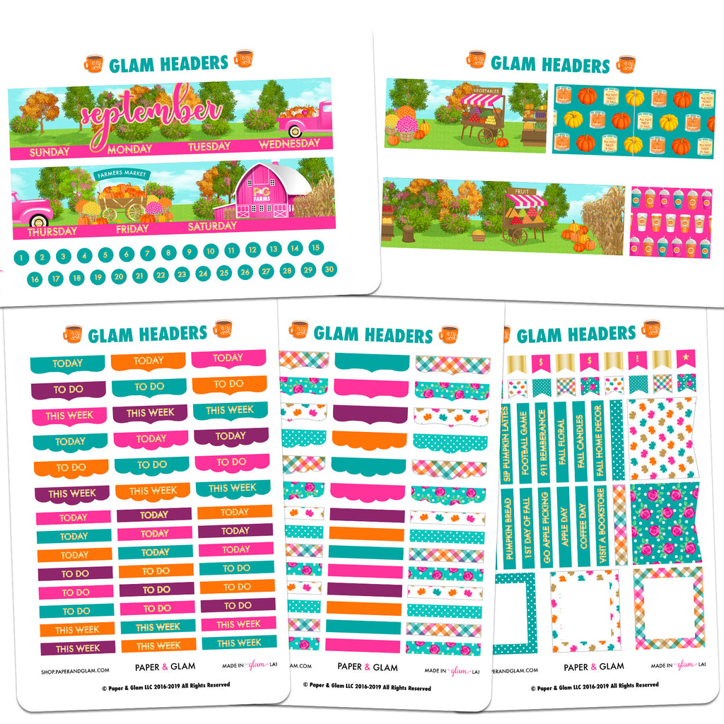 Glam September Headers Planner Stickers