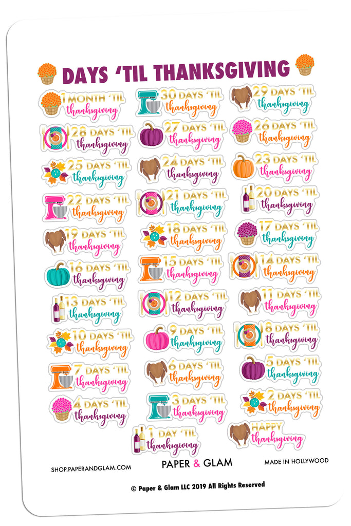 Gold Foil Thanksgiving Countdown Planner Stickers