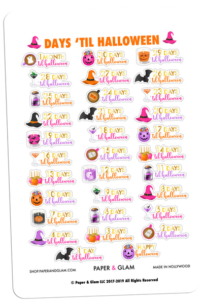 Gold Foil Glamoween Countdown Planner Stickers