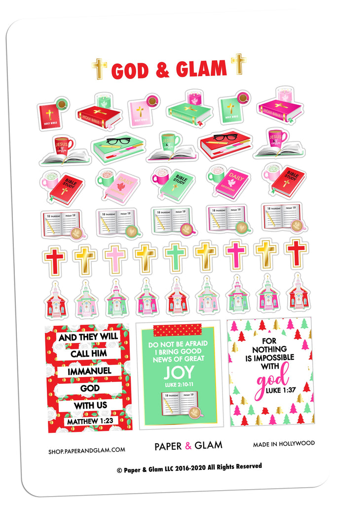 Gold Foil God & Glam® Christmas Planner Stickers
