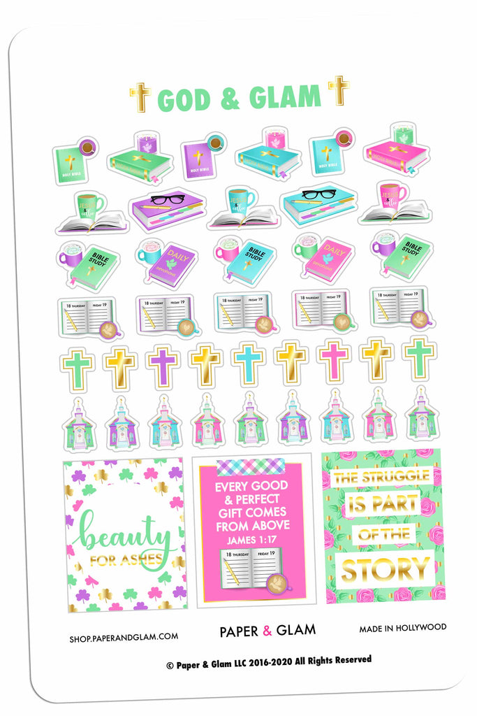 Gold Foil God & Glam® Spring Planner Stickers
