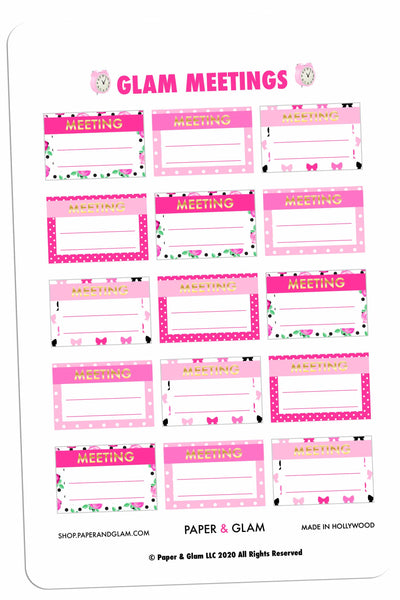 Gold Foil Meeting Planner Stickers
