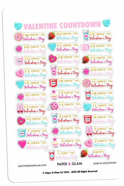 Gold Foil Valentine Countdown Planner Stickers