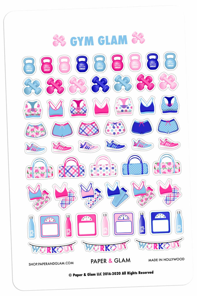 Gym Glam January Planner Stickers