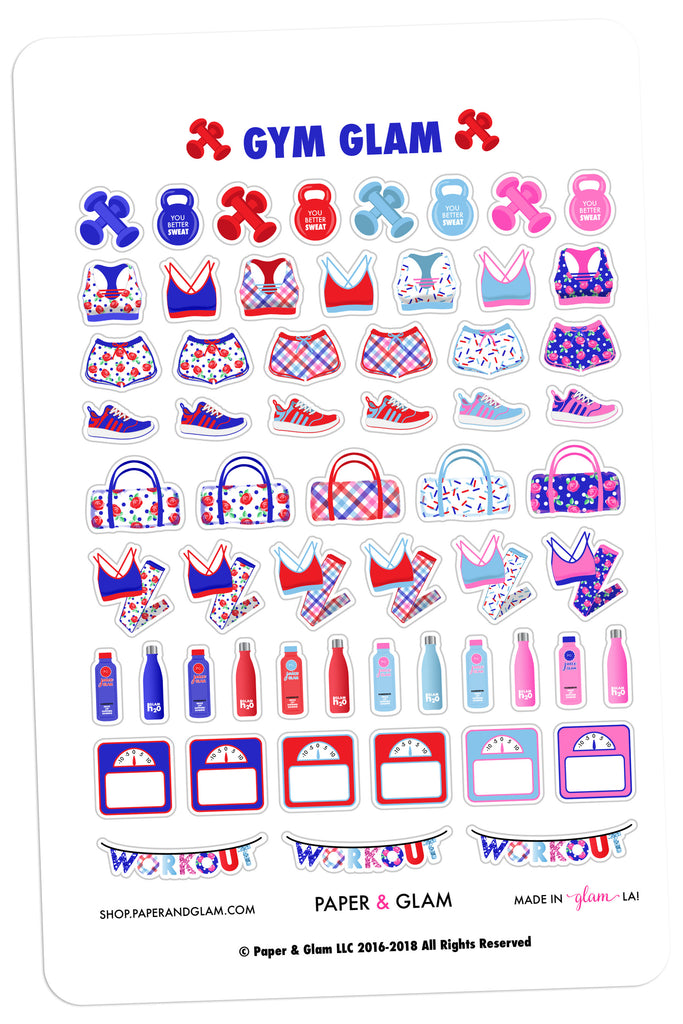 Gym Glam July Planner Stickers