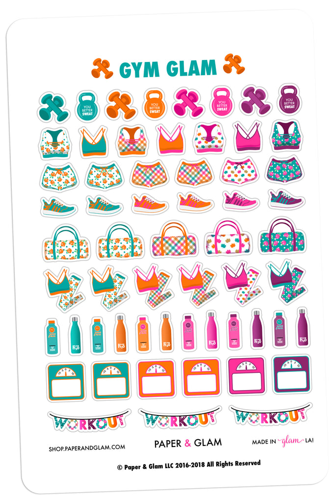Gym Glam September Planner Stickers