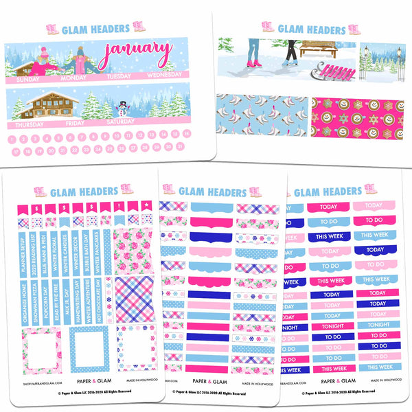 Glam January Headers Digital Planner Stickers