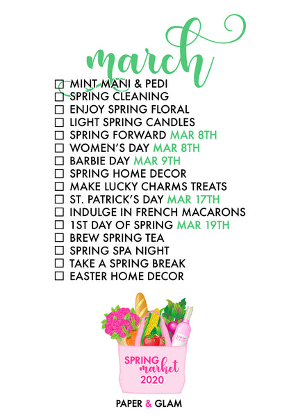 March Seasonal Living List