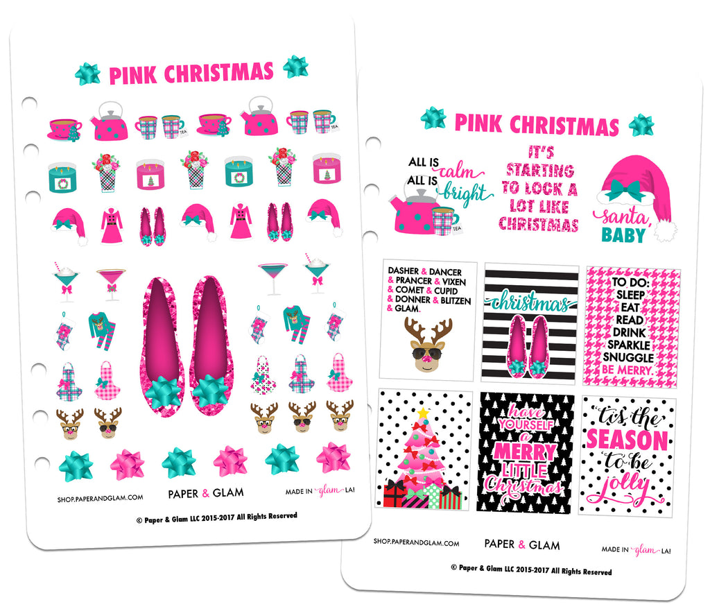 Pink Christmas Digital Planner Stickers