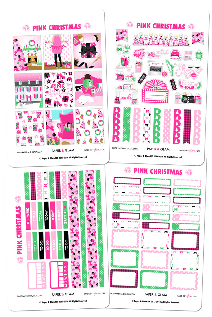 Pink Christmas Weekly Kit Planner Stickers