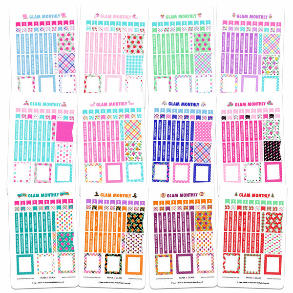 Seasonal Glam Monthly 365 Digital Planner Stickers
