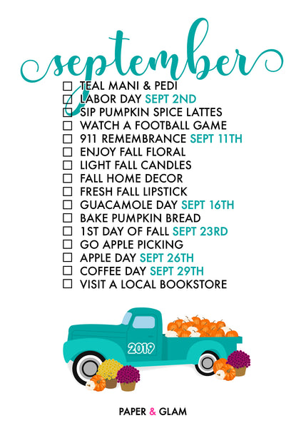 September Seasonal Living List