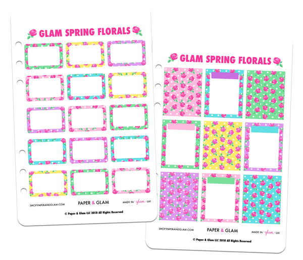 Glam Spring Floral Basics Planner Stickers