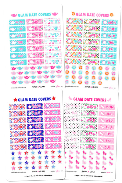 GOLD FOIL Glam Summer Date Cover Planner Stickers