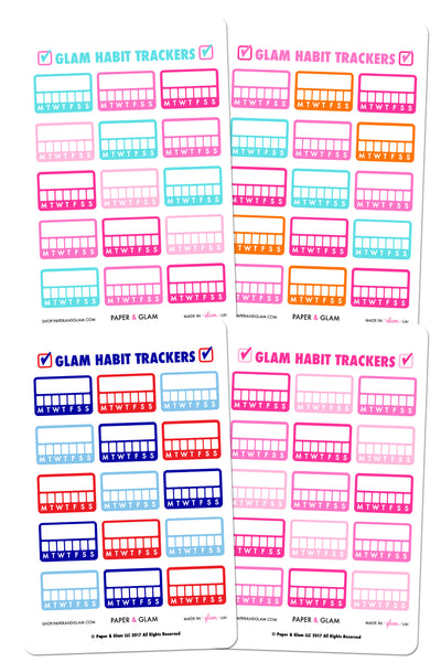 Glam Summer Habit Tracker Planner Stickers