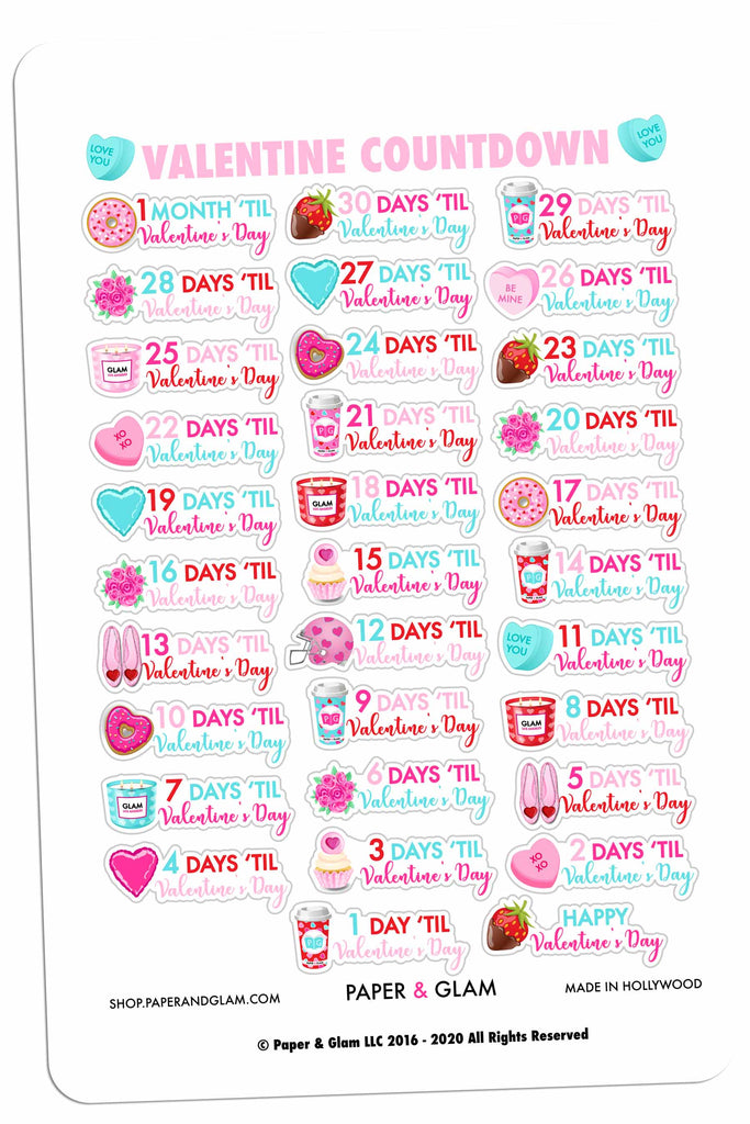 Valentine Countdown Digital Planner Stickers