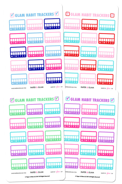 Glam Winter & Spring Habit Tracker Planner Stickers