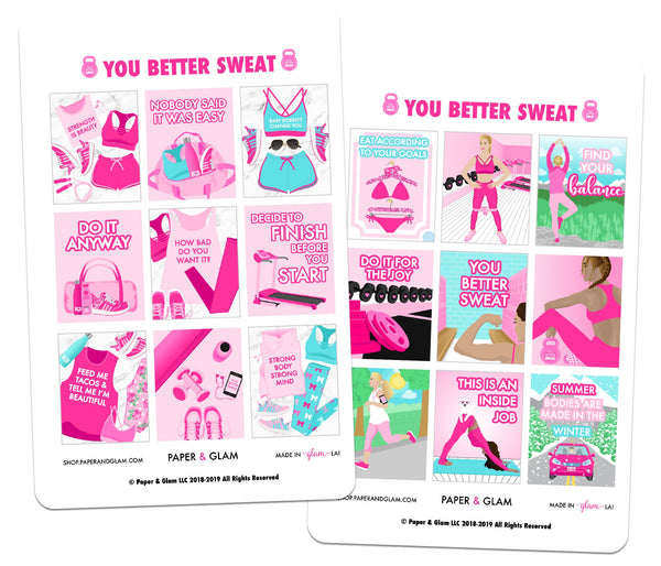 You Better Sweat Digital Planner Stickers