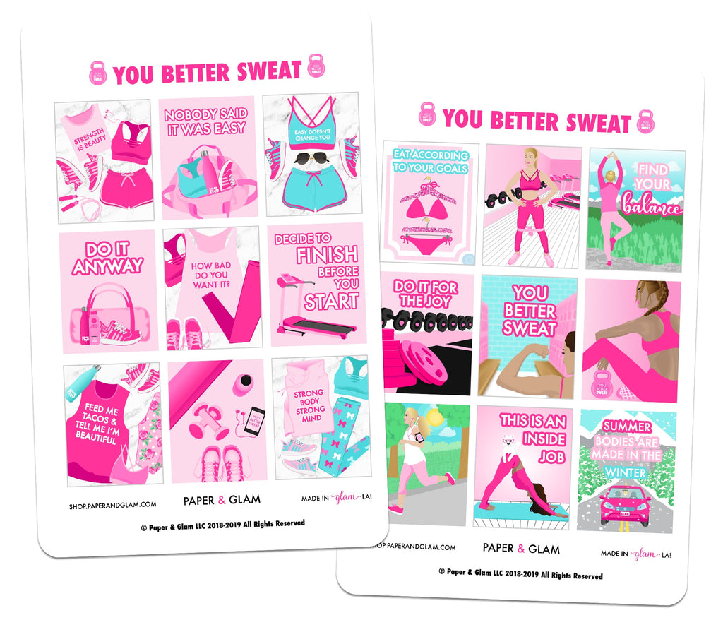 You Better Sweat Planner Stickers