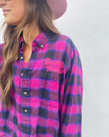 Howdy Honey One of a Kind Flannel #1 Oversized Small Fitted Medium