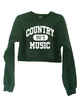 90's Country Crewneck Sweatshirt Green CROPPED