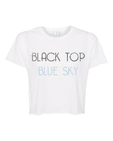 Black Top Blue Sky Crop Top White