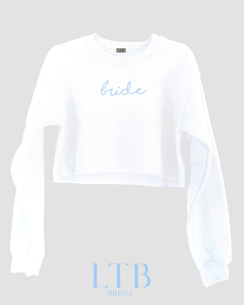[LTB Customs] Bridal Bride Script Cropped Crewneck Sweatshirt