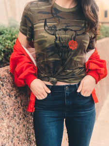 Camo Skull Tee Red Rose