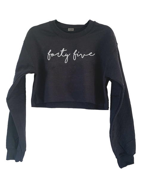 [LTB Customs] Embroidered Script Number or Name Crewneck Sweatshirt Cropped