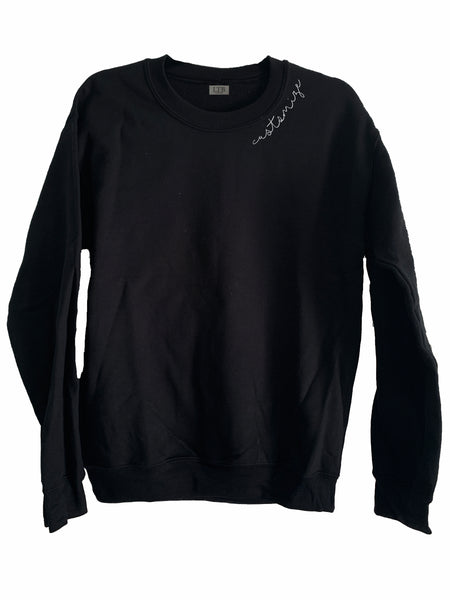 [LTB Customs] Embroidered Collar Crewneck Sweatshirt Black