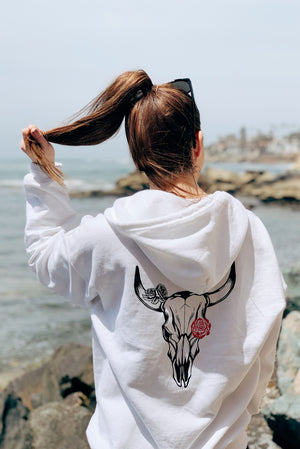 Skull Zip Up Sweatshirt White/Pink Rose